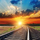dramatic sunset over railroad  Niebo Fototapeta