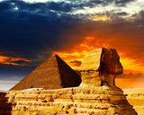 Great Sphinx and the Pyramids at sunset  Architektura Obraz