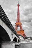 Eiffel tower monochrome and red  Architektura Obraz