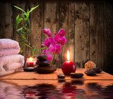 massage - bamboo - orchid, towels, candles stones  Obrazy do Salonu SPA Obraz