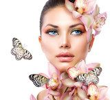 Beautiful Girl With Orchid Flowers and Butterfly  Obrazy do Salonu SPA Obraz