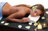 female during luxurious procedure of massage  Obrazy do Salonu SPA Obraz