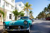 View of  Ocean drive with a vintage car  Pojazdy Fototapeta