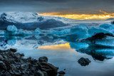 Jokulsarlon Lake & Icebergs during sunset, Iceland  Krajobrazy Obraz