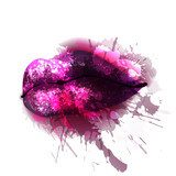 Lips with colorful splashes  Fototapety do Kawiarni Fototapeta