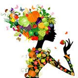 Fashion girl with hair from fruits for your design  Fototapety do Kawiarni Fototapeta