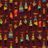 Seamless texture with African women  Fototapety do Kawiarni Fototapeta