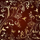 floral ornament gold  for your design  Fototapety do Kawiarni Fototapeta