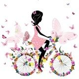 Girl on a bicycle with a romantic butterflies  Fototapety do Kawiarni Fototapeta