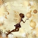 Christmas grunge background with a fairy  Fototapety do Kawiarni Fototapeta