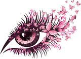 Beautiful female eye with butterflies  Fototapety do Kawiarni Fototapeta