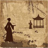 Vintage retro landscape wallpaper with girls  Fototapety do Kawiarni Fototapeta