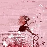 Fairy on the grunge background with letters  Fototapety do Kawiarni Fototapeta