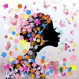 Floral hairstyle, girl and butterfly  Fototapety do Kawiarni Fototapeta