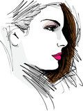 Beautiful Woman face illustration  Fototapety do Kawiarni Fototapeta
