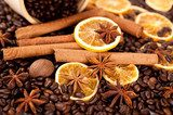 Coffee beans, cinnamon sticks and star anise  Fototapety do Kawiarni Fototapeta