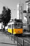 Lisbon old yellow tram over black and white background  Pojazdy Obraz