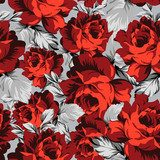 Seamless vector rose wallpaper  Tekstury Fototapeta