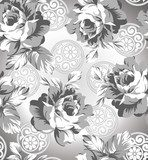 Seamless silver rose flower background  Tekstury Fototapeta