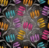 Seamless wallpaper of fancy lotus flower  Tekstury Fototapeta