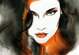 Beautiful woman.  Hand painted fashion illustration  Obrazy do Salonu Fryzjerskiego Obraz