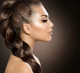 Hair Braid. Beautiful Woman with Healthy Long Hair  Obrazy do Salonu Fryzjerskiego Obraz