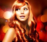 Beautiful Girl With Shiny Red Long Hair over Blinking Background  Obrazy do Salonu Fryzjerskiego Obraz