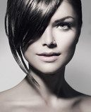 Stylish Fringe. Teenage Girl with Short Hair Style  Obrazy do Salonu Fryzjerskiego Obraz