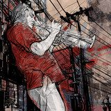trumpeter on a grunge cityscape background  Muzyka Obraz