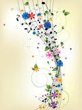 Floral musical background with notes  Muzyka Obraz