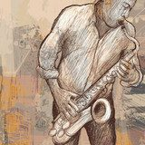 saxophonist playing saxophone on grunge background  Muzyka Obraz