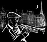 trumpeter on a grunge background  Muzyka Obraz