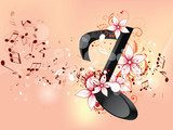 Abstract design background with colourful music notes  Muzyka Obraz