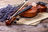 Vintage composition with violin and lavender  Muzyka Obraz