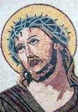 Antique Byzantine Christian mosaic portrait of Jesus Christ  Religijne Obraz