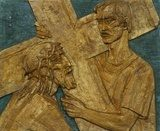 Simon of Cyrene carries the cross  Religijne Obraz