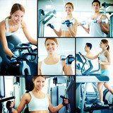 Training in health club  Fototapety do Klubu Fitness Fototapeta
