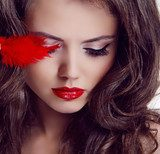 Fashion woman Beauty Portrait. Red Lips  Pin-up Obraz