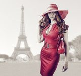 Young beautiful woman in Paris, France  Pin-up Obraz
