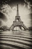 Paris. Eiffel Tower with Stairs to Seine River. Black and White  Wieża Eiffla Fototapeta