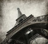 Eiffel tower. Photo in grunge style. Paper texture.  Wieża Eiffla Fototapeta