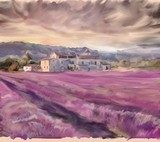 Lavender field in Provence. Watercolor painting  Prowansja Fototapeta