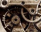 Close up view of vintage clock's gears  Sepia Fototapeta