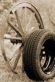 new and old wheel  Sepia Fototapeta