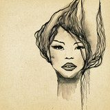 Beautiful modern woman drawing  Fototapety Sepia Fototapeta
