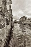 Wide angle shot of streets and canals in Venice  Sepia Fototapeta
