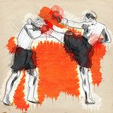 Muay Thai (combat martial art from Thailand) - hand drawing  Sport Fototapeta