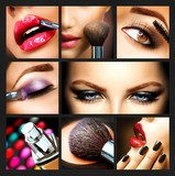 Makeup Collage. Professional Make-up Details. Makeover  Obrazy do Salonu Kosmetycznego Obraz