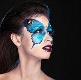 Face art portrait. Fashion Make up. Butterfly makeup on face bea  Obrazy do Salonu Kosmetycznego Obraz