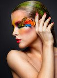 Woman with fashion feather eyelashes make-up  Obrazy do Salonu Kosmetycznego Obraz